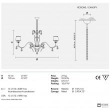 MasieroACANTIA 12 V90 CUT CRYSTAL — Потолочный подвесной светильник CLASSICA ACANTIA