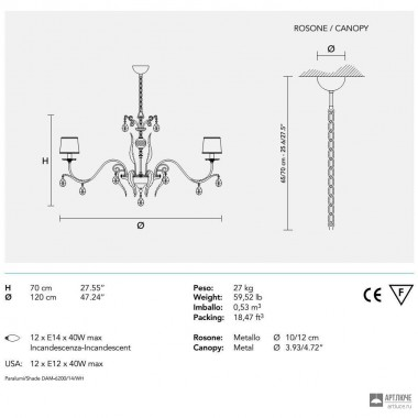MasieroACANTIA 12 V90 SWAROWSKI — Потолочный подвесной светильник CLASSICA ACANTIA