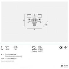 MasieroACANTIA A2 V10 SWAROWSKI — Настенный накладной светильник CLASSICA ACANTIA